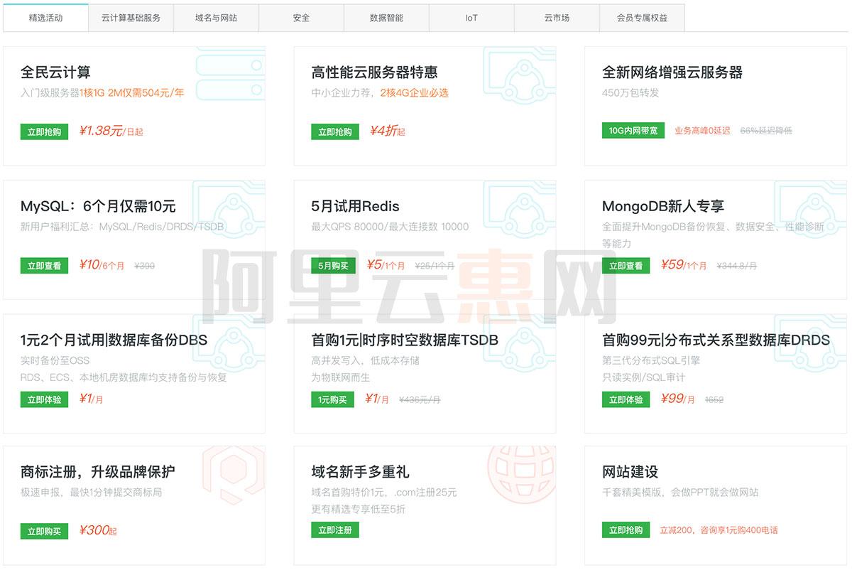 2019阿里云优惠活动汇总大全(云服务器/域名/数据库...)